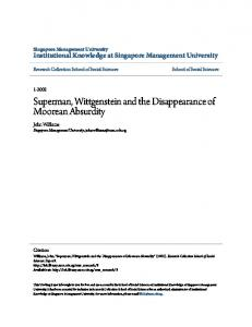Superman, Wittgenstein and the Disappearance of ... - CiteSeerX