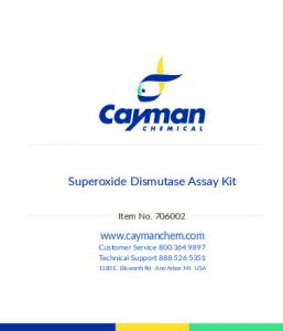Superoxide Dismutase Assay Kit - Cayman Chemical