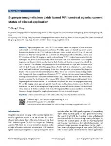 Superparamagnetic iron oxide based MRI contrast agents: current ...