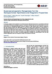 Superparamagnetic Manganese Ferrite Nanoparticles: Synthesis and ...