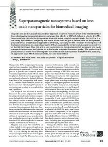 Superparamagnetic nanosystems based on iron oxide nanoparticles ...