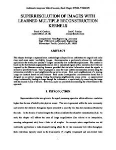 superresolution of images with learned multiple ... - CiteSeerX