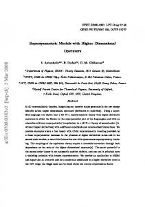Supersymmetric Models with Higher Dimensional Operators