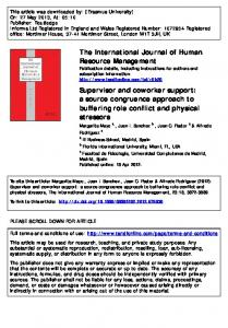 Supervisor and coworker support: a source ...