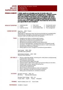 supervisor resume template sample