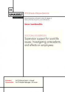 Supervisor support for work-life issues: Investigating
