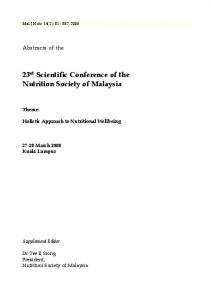 Supplement - Nutrition Society of Malaysia