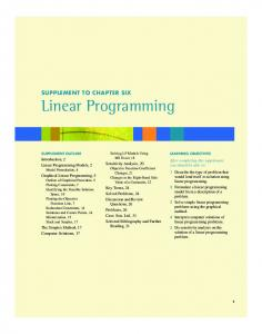 SUPPLEMENT TO CHAPTER SIX Linear Programming