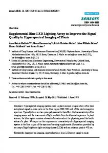 Supplemental Blue LED Lighting Array to Improve the Signal ... - MDPI