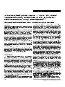 Supplemental feeding during pregnancy compared with maternal ...