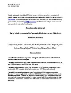 Supplemental Material: Early Life Exposure to Perfluoroalkyl ...