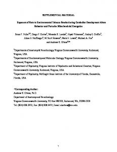 SUPPLEMENTAL MATERIAL Exposure of Rats to Environmental ...