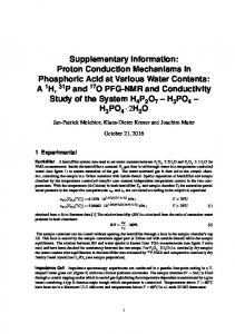 Supplementary Information: Proton Conduction