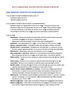 SUPPLEMENTARY NOTES FOR STEREOCHEMISTRY