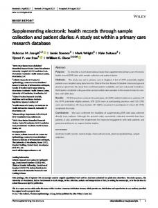 Supplementing electronic health records ... - Wiley Online Library