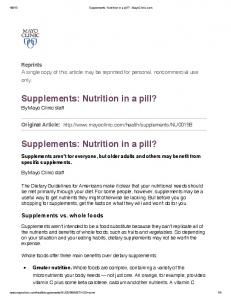 Supplements - Nutrition Clinic
