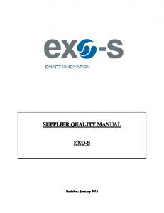 SUPPLIER QUALITY MANUAL EXO-S