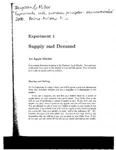"""Supply and demand"" (Experiment 1)"