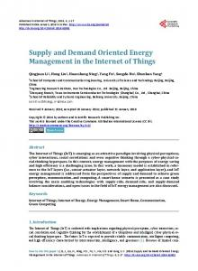 Supply and Demand Oriented Energy Management in the Internet of ...