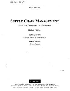 SUPPLY CHAIN MANAGEMENT - GBV
