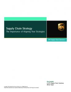 Supply Chain Strategy - UPS Supply Chain Solutions