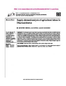 Supply-demand analysis of agricultural labour in Dharwad district