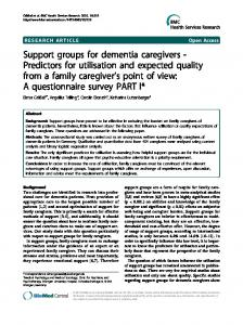 Support groups for dementia caregivers - Predictors ... - BioMed Central