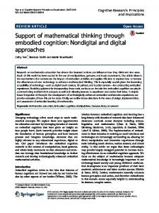 Support of mathematical thinking through embodied cognition ...
