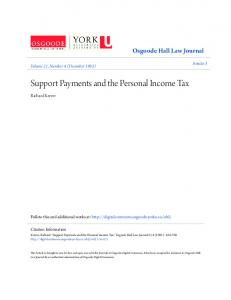 Support Payments and the Personal Income Tax