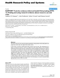 SUPPORT Tools for evidence-informed health Policymaking (STP) 12