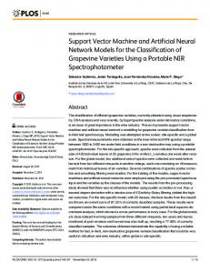 Support Vector Machine and Artificial Neural Network Models for the ...