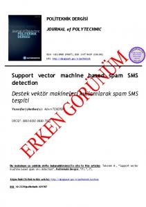 Support vector machine based spam SMS detection