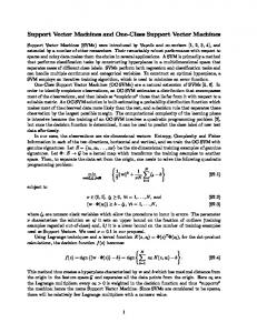Support Vector Machines and One-Class Support Vector ... - PLOS