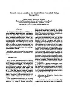 Support Vector Machines for Handwritten Numerical ... - CiteSeerX