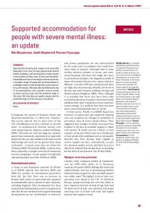 Supported accommodation for people with severe mental illness: an ...