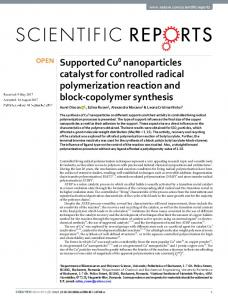 Supported Cu0 nanoparticles catalyst for controlled