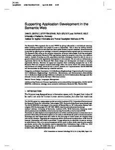 Supporting Application Development in the ... - Semantic Scholar