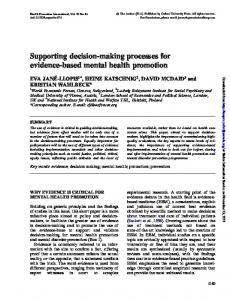Supporting decision-making processes for evidence ...