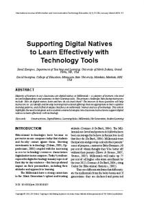Supporting Digital Natives to Learn Effectively with Technology Tools