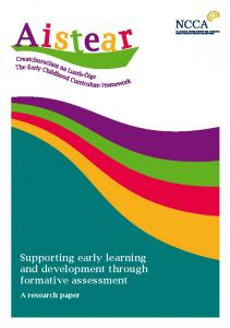 Supporting early learning and development through formative ...