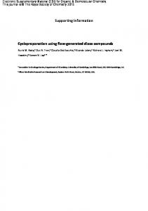 Supporting Information Cyclopropanation using flow-generated diazo