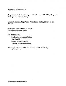 Supporting Information for Arginine Methylation is Required for ... - PNAS