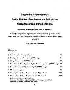 Supporting information for: On the Reaction Coordinates