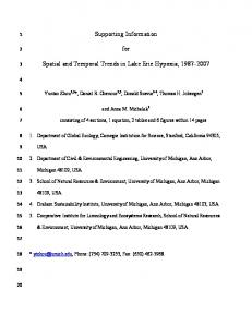 Supporting Information for Spatial and Temporal Trends in Lake Erie ...