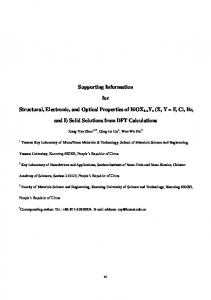 Supporting Information for Structural, Electronic, and