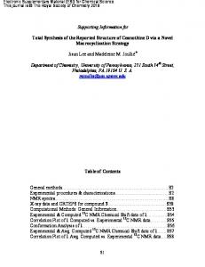 Supporting Information for Total Synthesis of the Reported Structure of ...