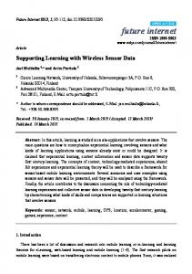 Supporting Learning with Wireless Sensor Data - MDPI