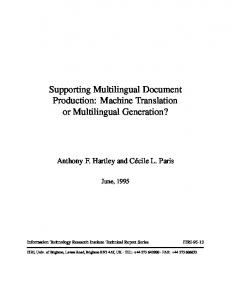 Supporting Multilingual Document Production: Machine Translation or