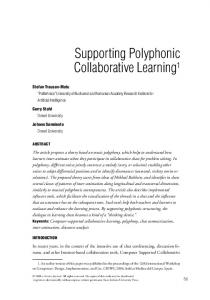 Supporting Polyphonic Collaborative Learning - Gerry Stahl