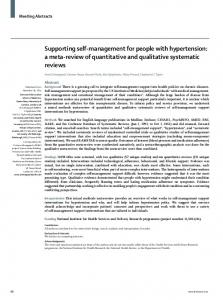 Supporting self-management for people with ... - The Lancet